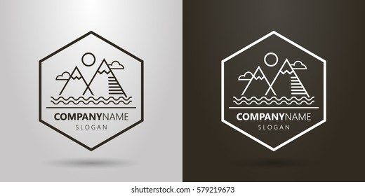 black and white logo of simple line art  landscape with mountains and water waves in a hexagon frame