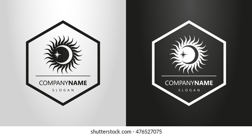 black and white logo with the sun moon and stars in a hexagonal frame