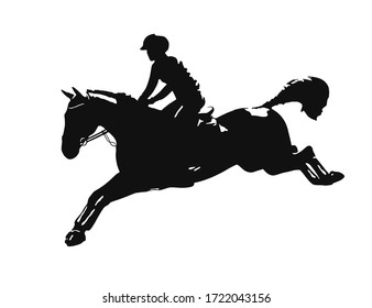 Black and white low key high contrast silhouette of a show jumping rider and horse