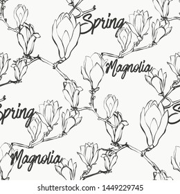 Black and white magnolia flowers seamless pattern. Hand drawing outline pattern. Vector line art illustration.