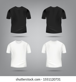 Black and white male t-shirt mockup set from front and rear view - blank men's clothing design template for company merchandise or fashion apparel, vector illustration