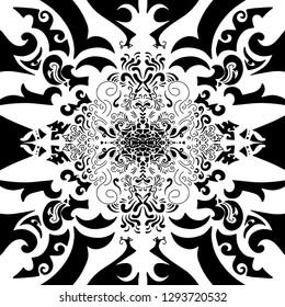 Black and white mandala design