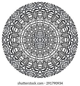 Black and white Mandala, tribal ethnic ornament, vector islamic arabic indian pattern.