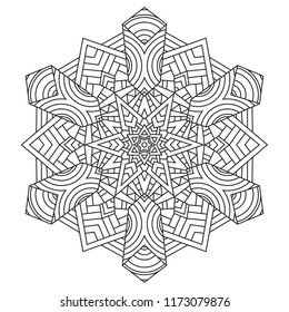 Black and white mandala vector isolated on white. Vector hand drawn circular decorative element