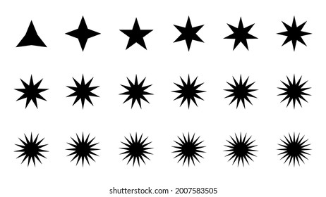 Black and white many points star, icon, vector