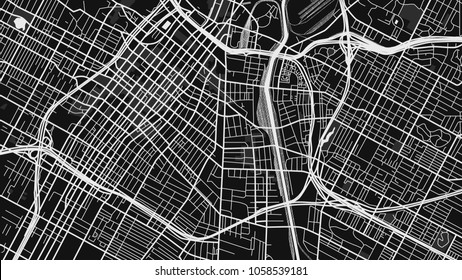 black white map city los angeles