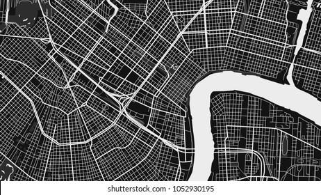 black white map city new orleans