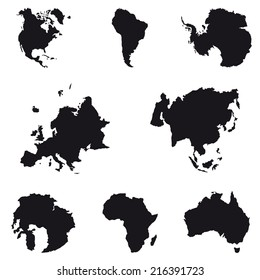 Black And White Map Of Continent