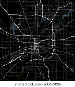 Black and white map of Indianapolis city. Indiana Roads