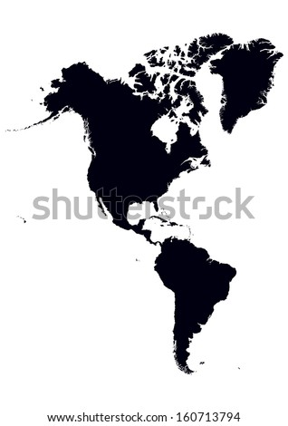 Black White Map North South America Stock Vector Royalty Free