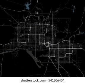 Black and white map of Phoenix city. Arizona Roads