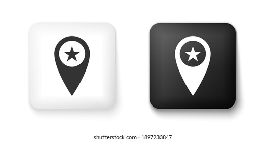 Black and white Map pointer with star icon isolated on white background. Star favorite pin map icon. Map markers. Square button. Vector.