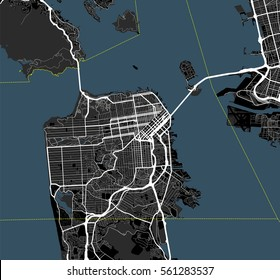 Black and white map of San Francisco city. California Roads