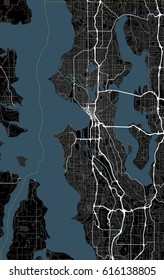 Black and white map of Seattle city. Washington Roads