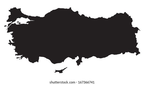 black and white map of Turkey
