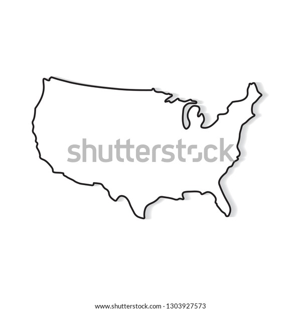 Black White Map United States Vector Stock Vector (Royalty ...