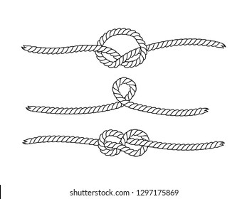 Black and white marine knots twine rope seamless pattern, vector