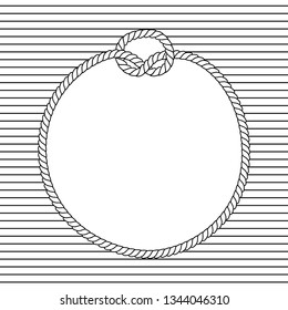 Black and white marine knots twine rope circle frame on a striped background, vector