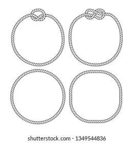 Black and white marine knots twine rope circle frames set, vector