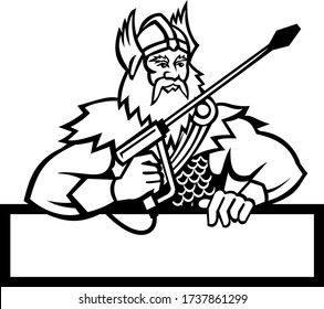 Black and White Mascot icon illustration of Norse god, Thor holding a pressure washer wand viewed from front set with banner below on isolated background in retro style.