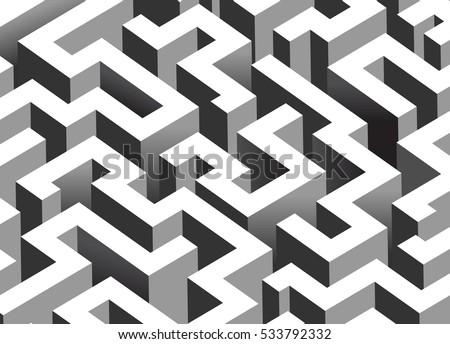 Black White Maze Labyrinth Isometric Endless Stock Vector Royalty Inspiration Labyrinth Pattern