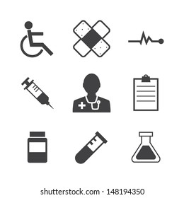 Black and white Medical Icons on retro Background.Vector EPS 10