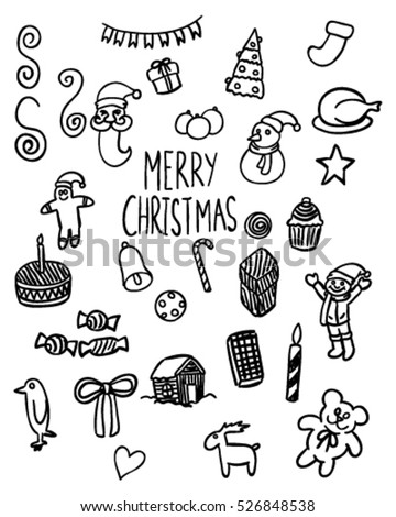 Black White Merry Christmas Doodle Art Stock Vector Royalty Free