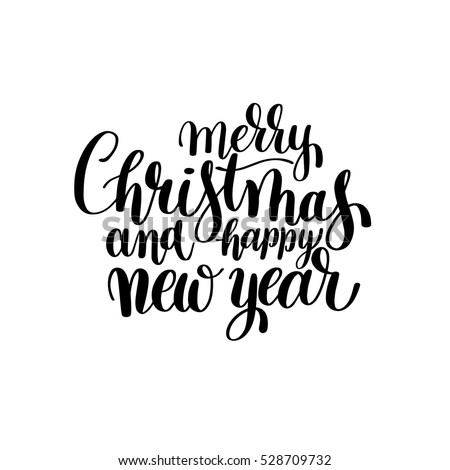 black and white merry christmas and happy new year calligraphic hand lettering vector illustration - Merry Christmas Black And White