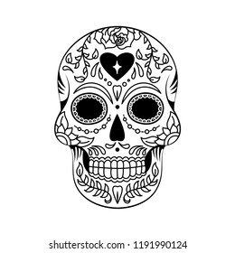 Black and White Mexican Floral Sugar Skull Vector Illustration Graphic for Day of the Dead, Dia de Muertos, and Halloween