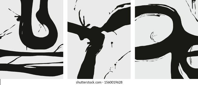 black and white minimalist abstract art nordic design splatter big and dynamic splatter grunge brush marks