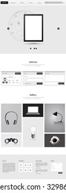Black and white minimalistic one page website design, vector