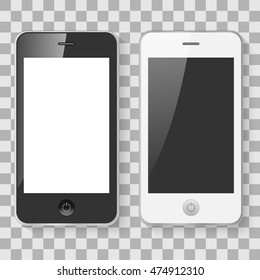 Black and white mobile smart phones on a checker background