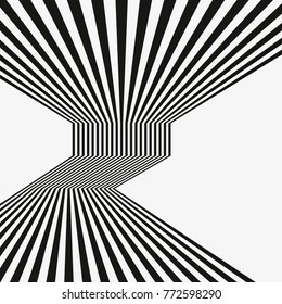 Black and white mobious wave stripe optical abstract design. optical effect mobius wave stripe design movement