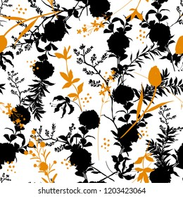 Black and white modern Silhouette Abstract with botanical seamless pattern with leaves and flowers Background with flowers vector ,on white background