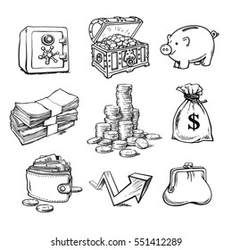 Black and white money set. Safe, chest with treasures, piggy bank, stack of bills, stack of coins, sack of dollars,  purse, wallet, rising arrow. Sketch hand drawn vector illustration isolated.