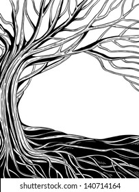 black and white monochrome abstract vector tree