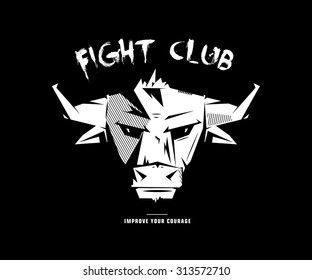 Black and white monochrome emblem, symbol, logotype, sign, badge, sticker, poster of a bull, buffalo, cow. Identity, T-shirt, textile, cloth, apparel, tattoo, print usage