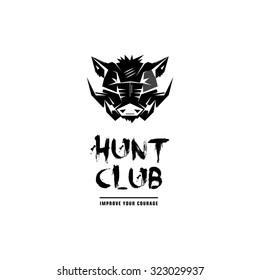 Black and white monochrome emblem, symbol, logotype, sign, badge, sticker, poster of a wild boar, pig, hog, swine. Identity, T-shirt, textile, cloth, apparel, tattoo, print usage
