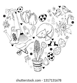 Black and white monochrome heart with different gardening tools, eggs and flowers.