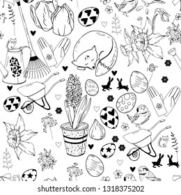 Black and white monochrome seamless background with different gardening tools, eggs and flowers.