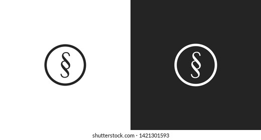 Black and white monogram round logo. SS initials for luxury company business branding. Simple modern premium logotype design