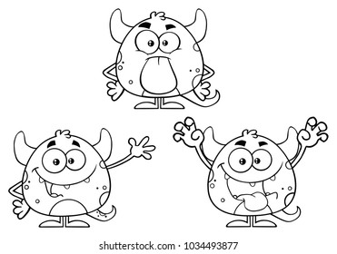 Black And White Monster Cartoon Emoji Character. Vector Collection Isolated On White Background