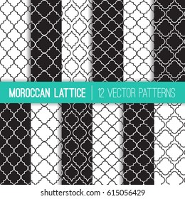 Black and White Moroccan Lattice Vector Patterns. Modern Elegant Neutral Backgrounds. Classic Quatrefoil Trellis Ornament. Vector Pattern Tile Swatches Included.