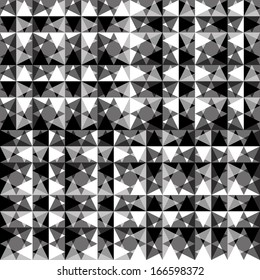 black and white mosaic seamless pattern of triangles