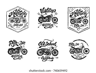 Black and white Motorcycle set for print on T-shits. Vintage motorcycle set with lettering. Riders. Old school motorbike. Motorcycle and motorbike emblems. Motorcycle Brooklyn, California
