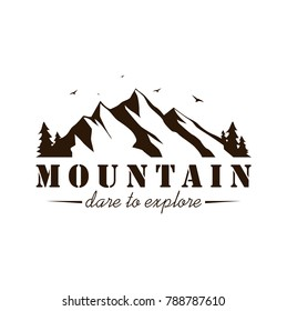 Black and White Mountain Explorer Adventure Badge Vector Template Design