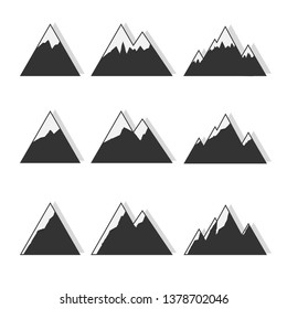 black and white mountains on a white background