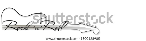 Black and white music background. Guitar and inscription rock'n'roll . Design of invitation to party, disco, music banner, flyer, cover, wallpaper. 3D vector illustration. Paper cut out style.