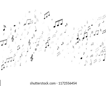 Black and white music notes abstract vector musical background. Music symbols flying, musical notation. Isolated notes symbols.