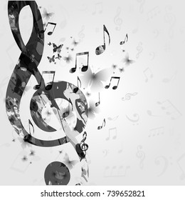 Black and white music poster with music notes. Music elements design for card, poster, invitation. Music background vector illustration